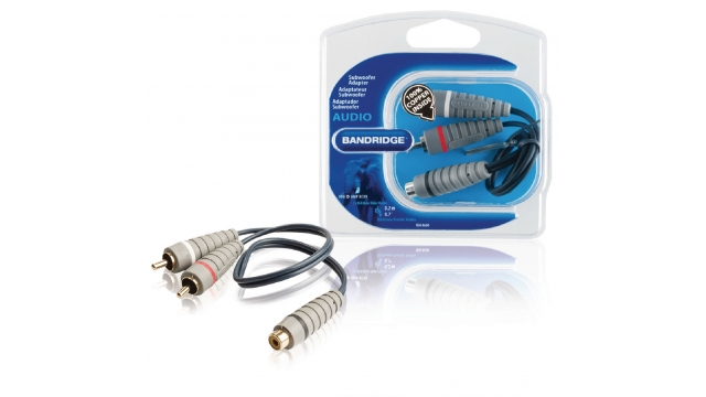 Bandridge BAL4600 Subwooferkabel 2x Rca Male - Rca Female 0.20 M Blauw