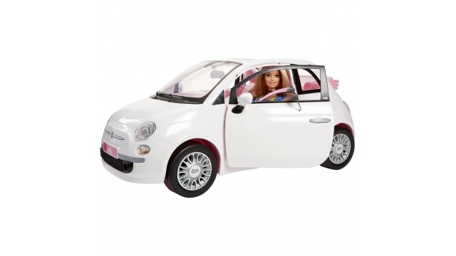 Barbie Fiat 500 Auto + Barbie-Pop Wit