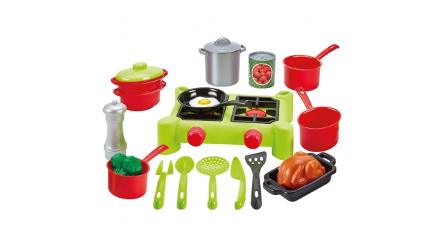 Ecoiffier 100% Chef Camping Gasstel + Accessoires 21-delig