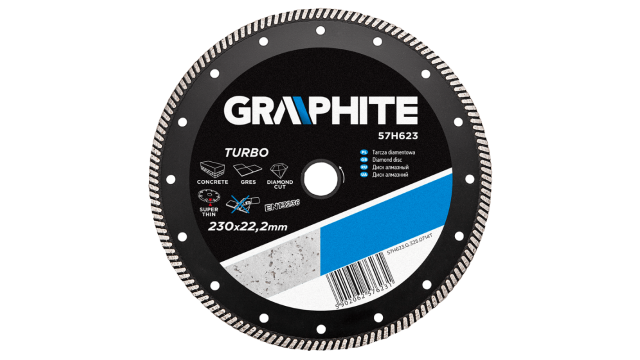 Graphite Diamantschijf 230x22x6,0x1,8mm Turbo Super Dun MPA EN13236