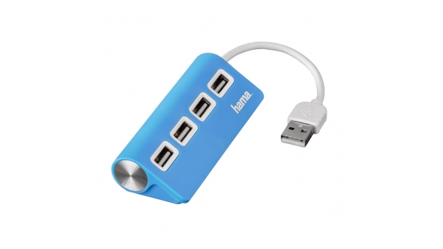 Hama USB 2.0 HUB 1:4 Buspowered Blauw