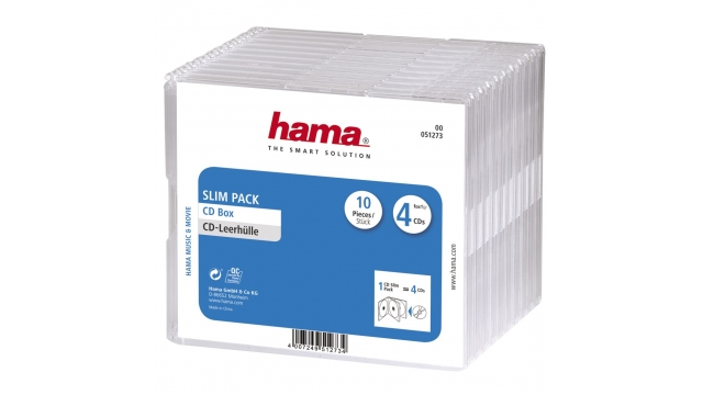 Hama Cd Doosjes 'Slim-Pack'4 Per 10