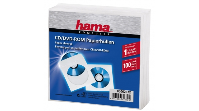 Hama Cd/dvd Protection Sleeves Papier Wit 100 Stuks