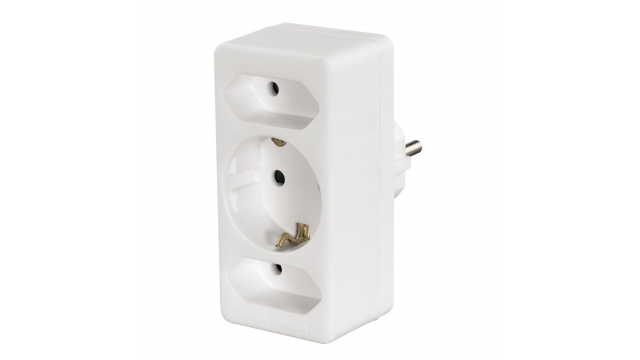 Hama 3-Way Multi-Plug 2 Euro Sockets/1 Socket With Earth Contact White