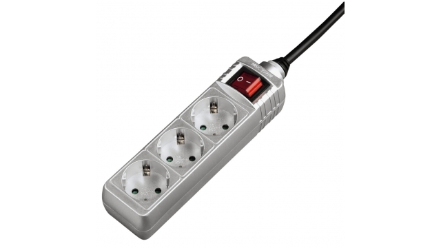 Hama Distribution Panel 3 Sockets With Switch Child-proof 1.4 M Silvergrey