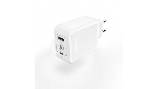 Hama Oplader USB-C Power Delivery (PD)/Qualcomm® + USB-A 42 Watt Wit