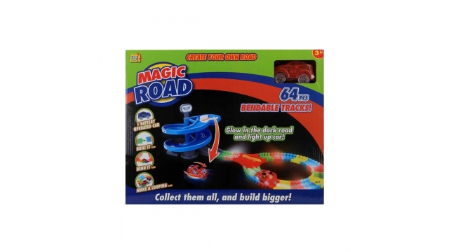 Kids Fun Magic Road Glow In The Dark Set + Licht 64-delig