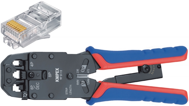 Knipex 97 51 12 SB Crimp Lever Pliers For Western Plugs Western Connector Rj10 (4-pin) 7.65 Mm, Rj11/12 (6-pin) 9.65 Mm; Rj45 (8-pin) 11.68 Mm