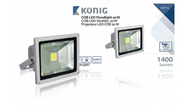 König KNLEDFL20W1 LED Bouwlamp Floodlight 20W 1400Lm Grijs