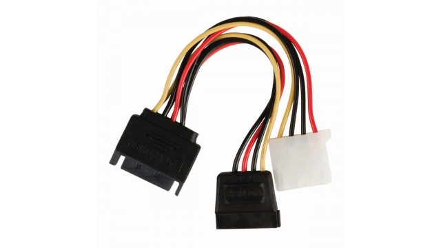 Nedis CCGP73555VA015 Interne Voedingskabel Sata 15-pins Male - Sata 15-pins Female + Molex Female 0,15 M Diverse