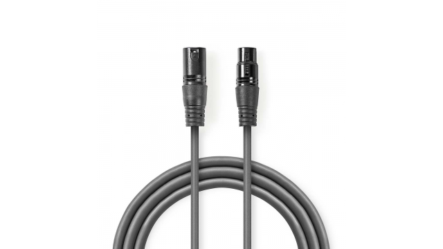 Nedis COTH15012GY15 Digitale Dmx-kabel 110 Ohm Xlr 3-pins Male - Xlr 3-pins Female 1,5 M Grijs