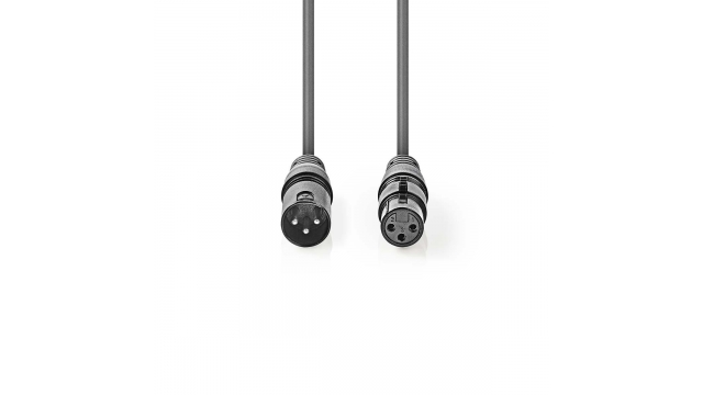 Nedis COTG15012GY100 Digitale Dmx-kabel 110 Ohm Xlr 3-pins Male - Xlr 3-pins Female 10 M Grijs