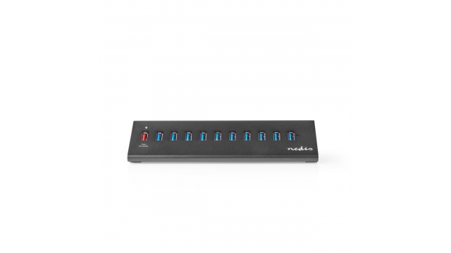 Nedis UHUBUP31110BK Usb-hub 11-poorts Usb 3.0 Powered Qc3.0 Charge Port 5 Gbps Aluminium