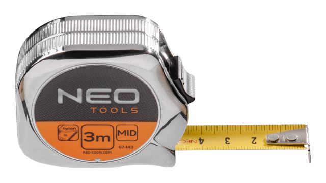 Neo Tools Rolmaat 3 Mtr Ergo Nylon Gecoat 16mm Band Breedte Metal Look