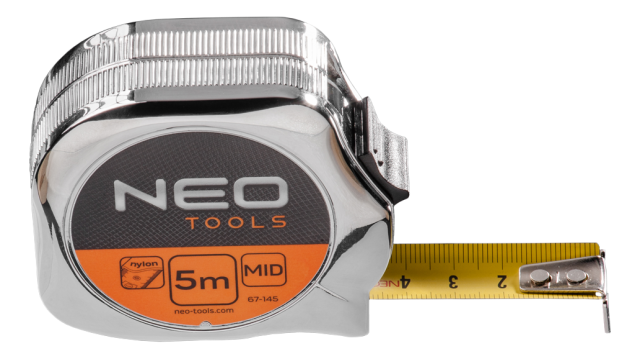 Neo Tools Rolmaat 5mtr Ergo Nylon Gecoat 19mm Band Breedte Metal Look