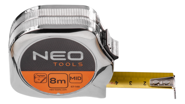 Neo Tools Rolmaat 8mtr Ergo Nylon Gecoat 25mm Band Breedte Metal Look