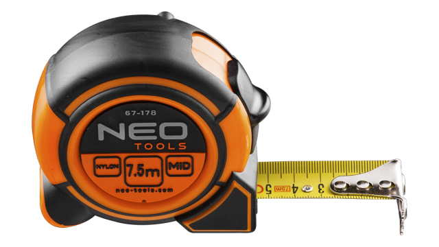 Neo Tools Rolmaat 8 Mtr Magnetisch Nylon Gecoat 25mm Band Breedte