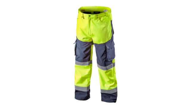 Neo Tools Hi-Vision Softshell Broek Flu Geel XXXL/58 Elastisch Warm Waterproof 8000mm Windproof ISO 20471:2013 ISO 13688:2013