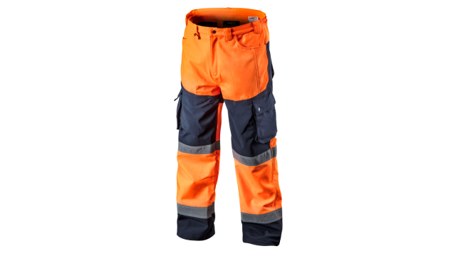 Neo Tools Hi-Vision Softshell Broek Flu Oranje M/50 Elastisch Warm Waterproof 8000mm Windproof ISO 20471:2013 ISO 13688:2013
