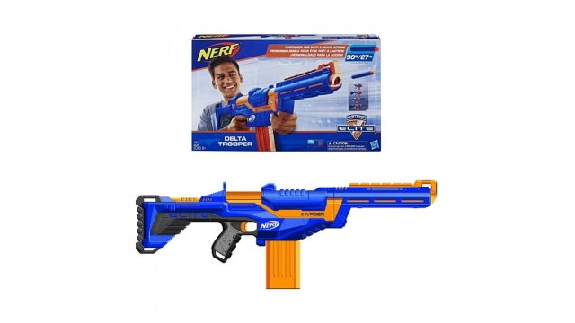 Nerf N-Strike Elite Delta Trooper Blaster met Losse Kolf/Loopverlenger/Dartsclip/12 Elite Darts