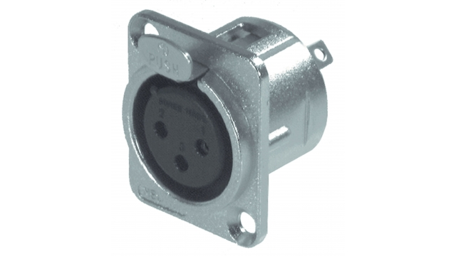 Neutrik NTR-NC3FD-L-1 Xlr Panel-mount Female Receptacle 3 Panel-mount Female Receptacle Dl Soldeer Connectie Nickel-plated