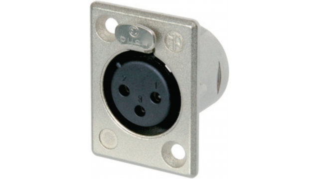 Neutrik NTR-NC3FP-1 Xlr Panel-mount Female Receptacle 3 Panel-mount Female Receptacle P Soldeer Connectie Nickel-plated