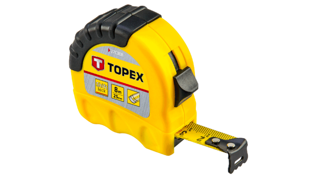 Topex Rolmaat 8 Mtr Shiftlock Nylon Gecoat 25mm Band