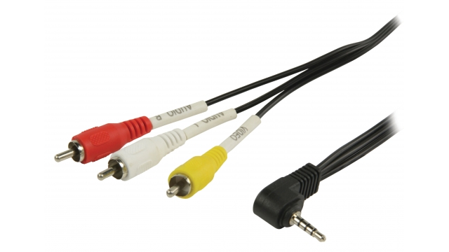 Valueline VLVP22400B20 Composiet Videokabel 3.5 Mm Male - 3x Rca Male 2.00 M Zwart